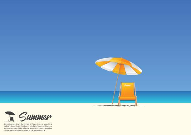 summer beach landscape with orange beach chair and orange beach umbrella on blue gradient sky background  with copy space for your text. - beach stock illustrations