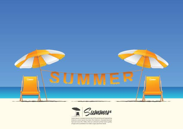 Summer beach landscape with orange beach chair, orange beach umbrella and summer typography hanging on a clothesline on blue gradient sky background  with copy space for your text. vector art illustration