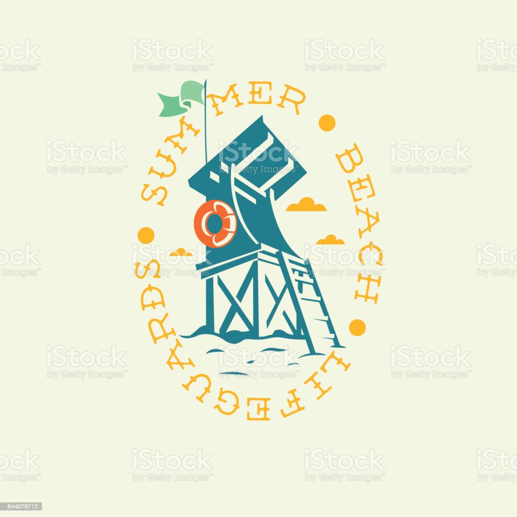 Summer Beach Lifeguards Tower Drawing Oval Emblem Logo Label Des vector art illustration