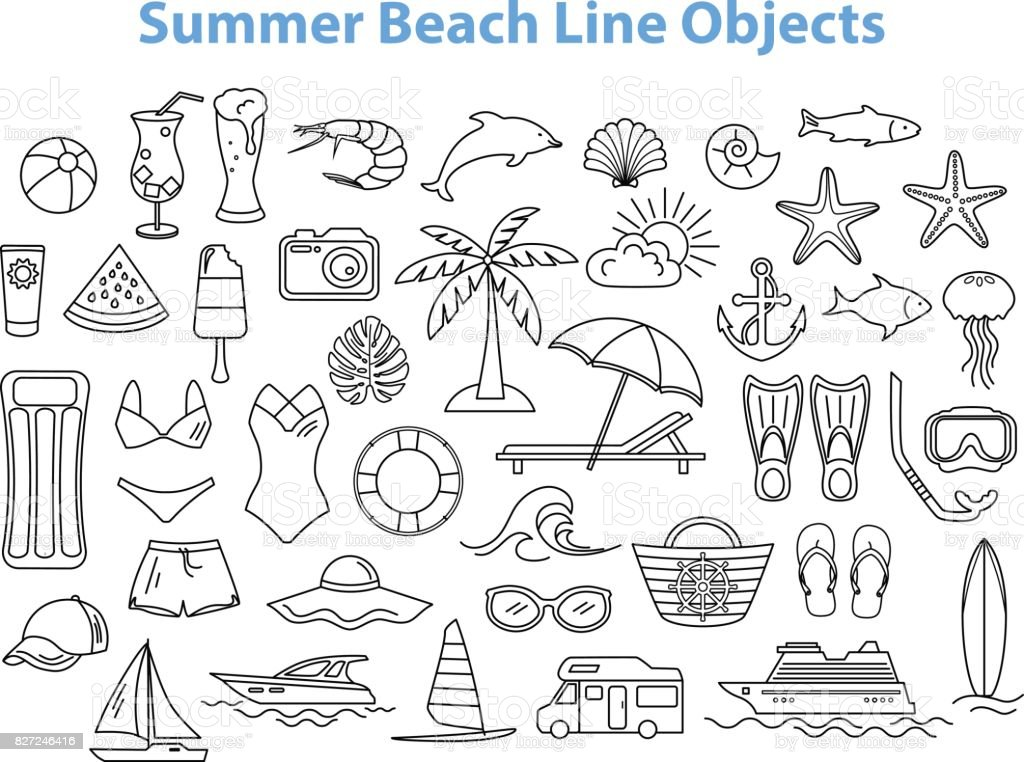 Summer Beach Line Objects Set. vector art illustration
