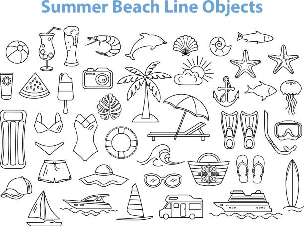 Summer Beach Line Objects Set. Summer Beach Line Objects Set. seyahat noktaları illustrationsları stock illustrations