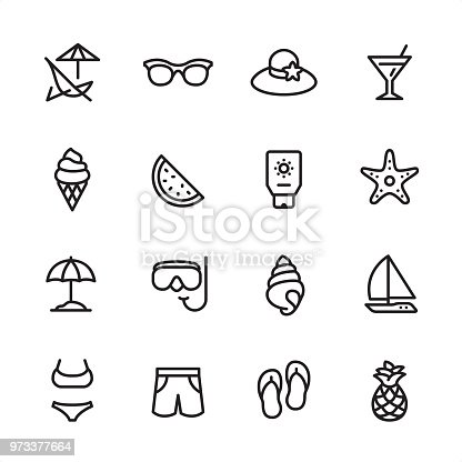 16 line black on white icons / Summer Beach/ Set #51 Pixel Perfect Principle - all the icons are designed in 48x48pх square, outline stroke 2px.  First row of outline icons contains:  Deck Chair, Sunglasses, Beach Hat, Martini Glass;  Second row contains:  Ice Cream Cone, Watermelon, Suntan Lotion, Starfish;  Third row contains:  Beach Parasol, Snorkeling, Conch Shell, Sailboat;   Fourth row contains:  Bikini, Swimming Trunks, Flip-flop, Pineapple.  Complete Inlinico collection - https://www.istockphoto.com/collaboration/boards/2MS6Qck-_UuiVTh288h3fQ