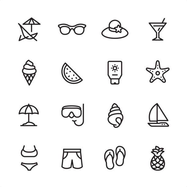 Summer Beach - outline icon set 16 line black on white icons / Summer Beach/ Set #51 Pixel Perfect Principle - all the icons are designed in 48x48pх square, outline stroke 2px.  First row of outline icons contains:  Deck Chair, Sunglasses, Beach Hat, Martini Glass;  Second row contains:  Ice Cream Cone, Watermelon, Suntan Lotion, Starfish;  Third row contains:  Beach Parasol, Snorkeling, Conch Shell, Sailboat;   Fourth row contains:  Bikini, Swimming Trunks, Flip-flop, Pineapple.  Complete Inlinico collection - https://www.istockphoto.com/collaboration/boards/2MS6Qck-_UuiVTh288h3fQ seyahat noktaları illustrationsları stock illustrations