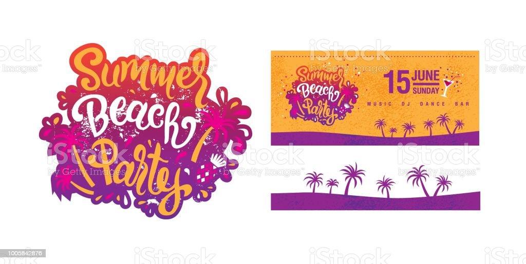 Summer Beach party design set vector art illustration