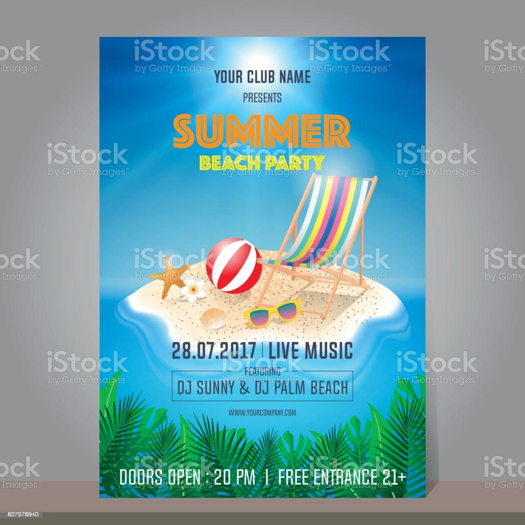 夏ビーチ パーティーのデザインはポスターチラシバナーやテンプレートの