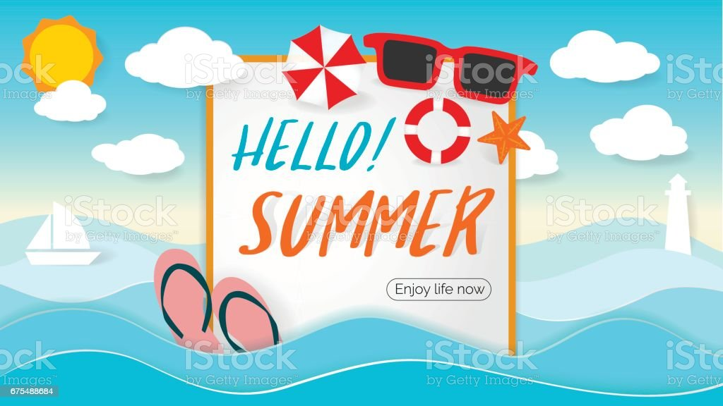 summer beach party design with template on ocean landscape