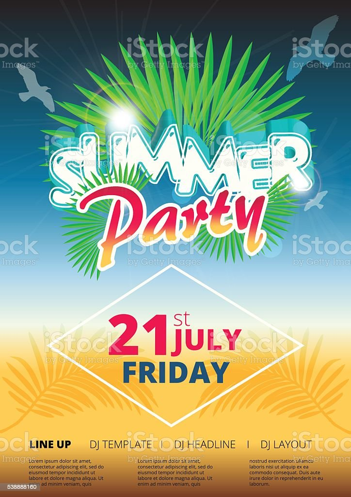 Summer Beach Party Event Poster And Flyer Template Design Stock
