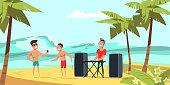 Summer beach party flat vector illustration. Young men in swimming trunks and dj cartoon characters. Tropical resort recreation, holiday entertainment. Music and dancing festival, summertime show