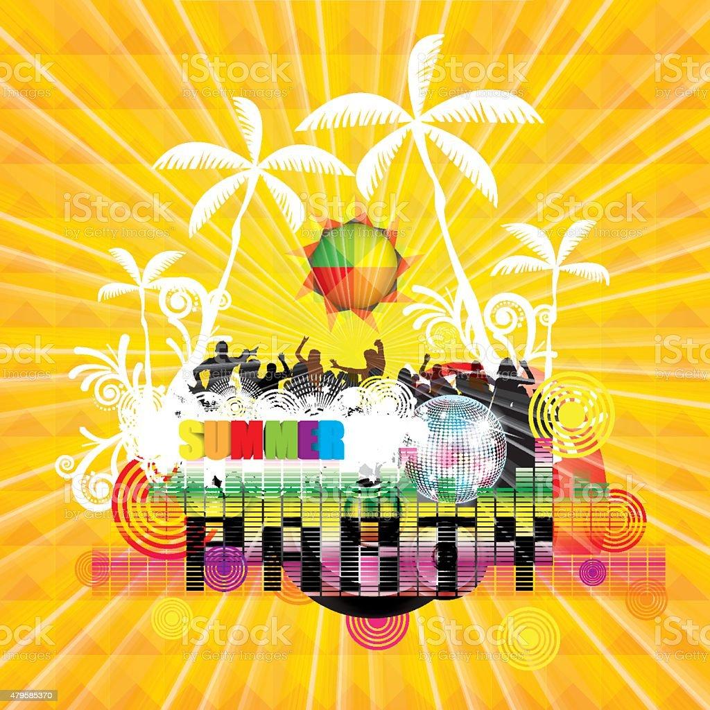 Summer beach Party flyer design vector art illustration
