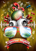 Summer Beach Party Flyer Design with disco ball and sunglasses
