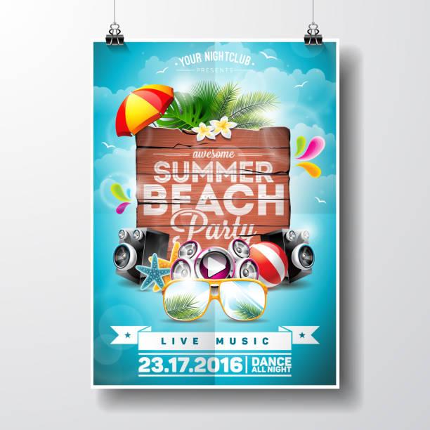 stockillustraties, clipart, cartoons en iconen met summer beach party flyer design with nature floral elements - strandfeest