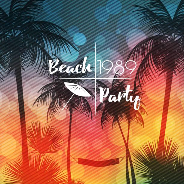stockillustraties, clipart, cartoons en iconen met summer beach party flyer design met palmbomen - vector illustra - strandfeest