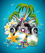 Summer Beach Party Flyer Design with sunglasses and starfish