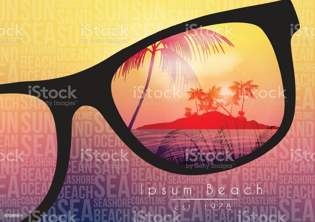 Summer Beach Party Flyer Design with Sunglasses on Blurred Background - Vector Illustration vector art illustration