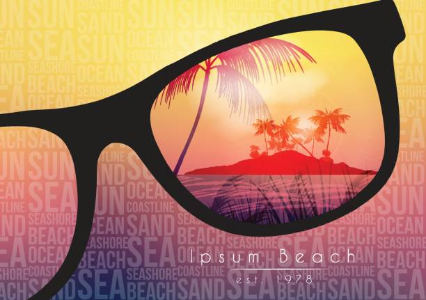 summer beach party flyer design with sunglasses on blurred background - vector illustration - sunglasses stock illustrations, clip art, cartoons, & icons