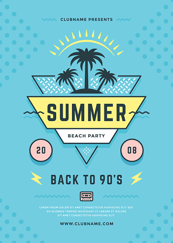 Summer beach party flyer or poster template 90s typography style design