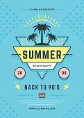 Summer beach party flyer or poster template 90s typography style design. Vector illustration.