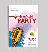 Summer beach party vector flyer template.