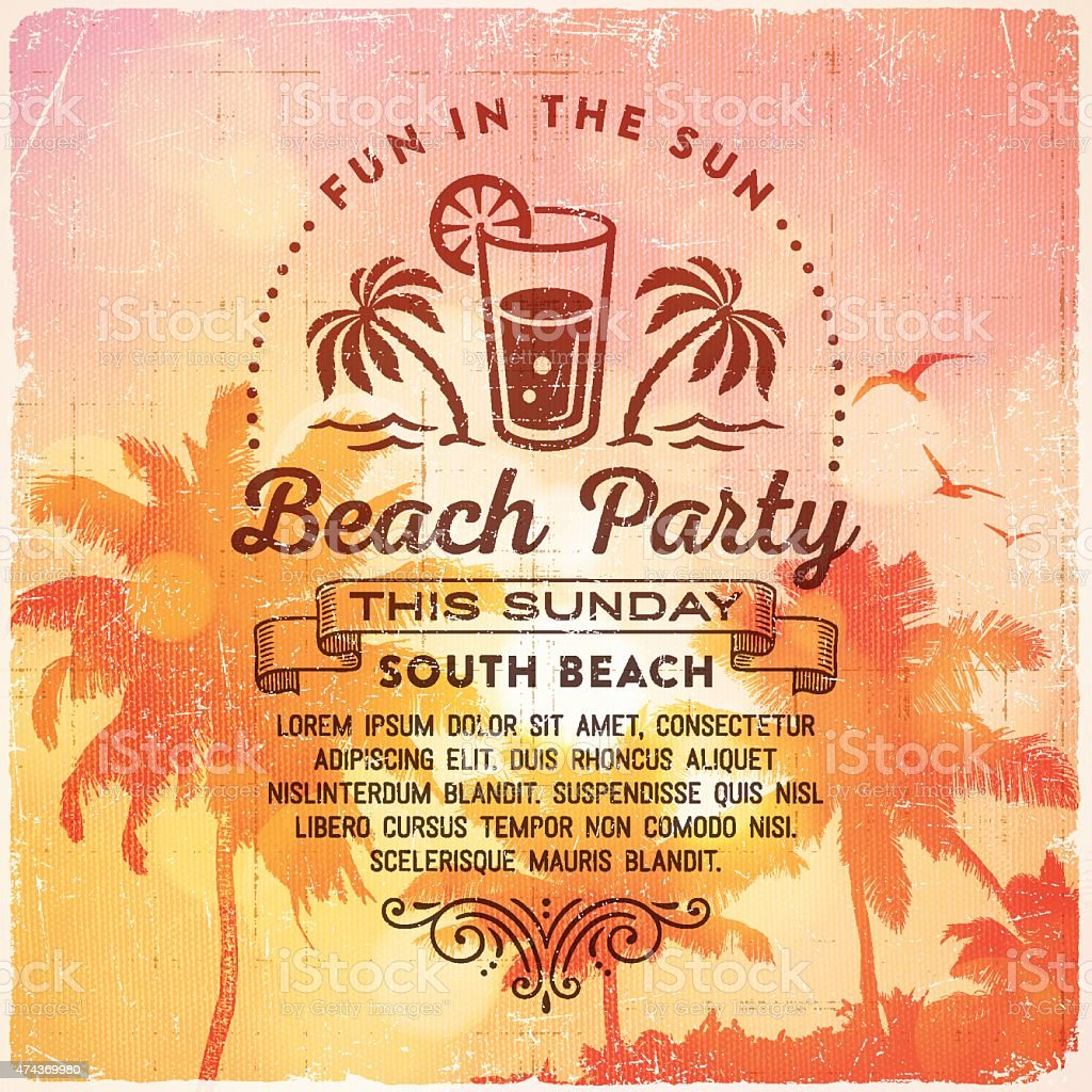 summer beach party invitation background stock vector art
