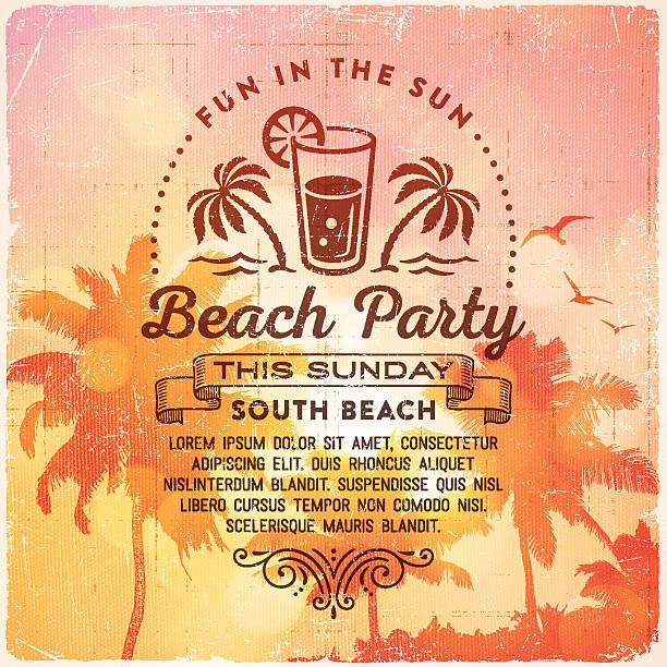 stockillustraties, clipart, cartoons en iconen met summer beach party invitation background - strandfeest