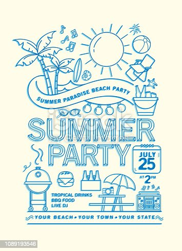 Vector illustration of a modern Summer Beach Party  with line art icons. Fully editable and customizable. EPS 10