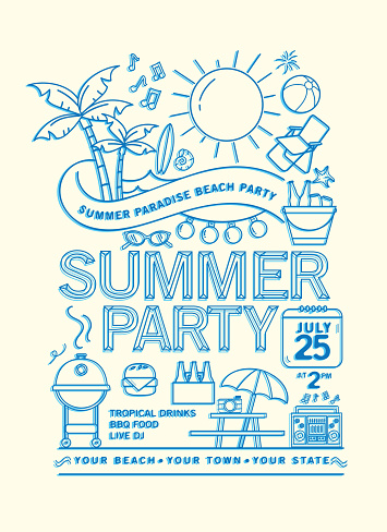 Summer Beach Party Invitation Design Template with line art icons