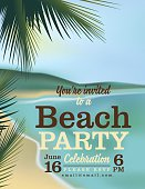 Summer Beach Party Invitation With ocean and Palm Tree