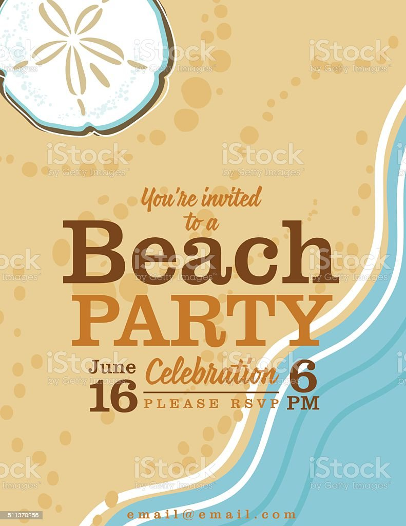 Summer Beach Party Invitation With Ocean And Sand Dollar Stock