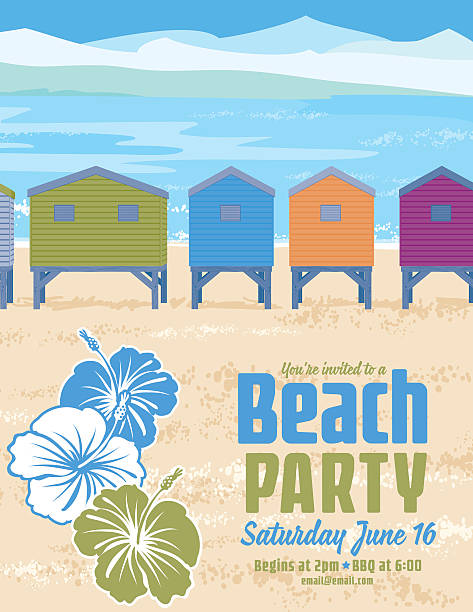 Summer Beach Party Invitation With ocean and Sand Dollar vector art illustration