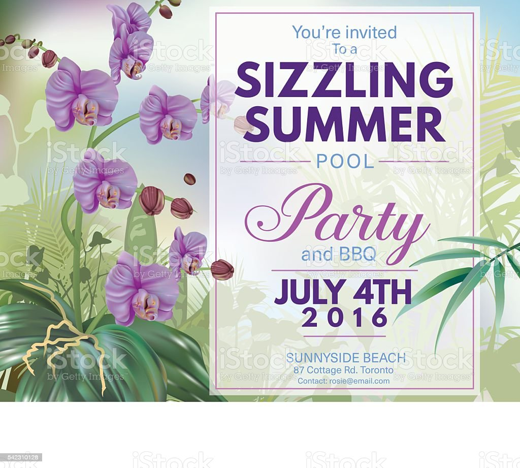 Summer Beach Party Invitation With Orchids And Tropical Plants Stock ...