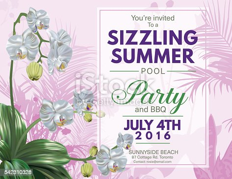 Summer Beach or Pool Party Invitation With orchids and tropical plants. The  text is written on a white transparent frame. Celebration for July 4th party and barbecue invitation. Purple and green theme.