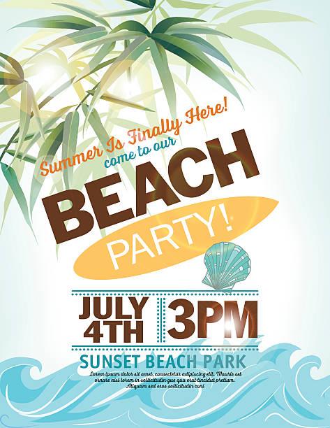 夏のビーチでのパーティの招待状、ヤシの葉ウェイブズ ベクターアートイラスト