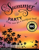Summer Pool or Beach Party Invitation With palm Tree silhouettes And violet and orange Sunset. Vertical template poster with black swirly text, flying birds and palm tree silhouettes.  Text is above the palm trees. Celebration for 4th July party.