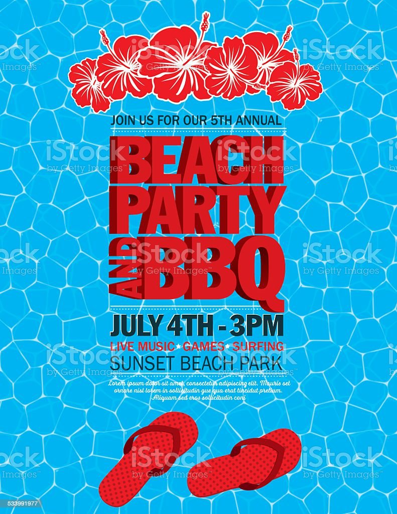 Summer Beach Party Invitation With Water And Flip Flops Stock Vector ...