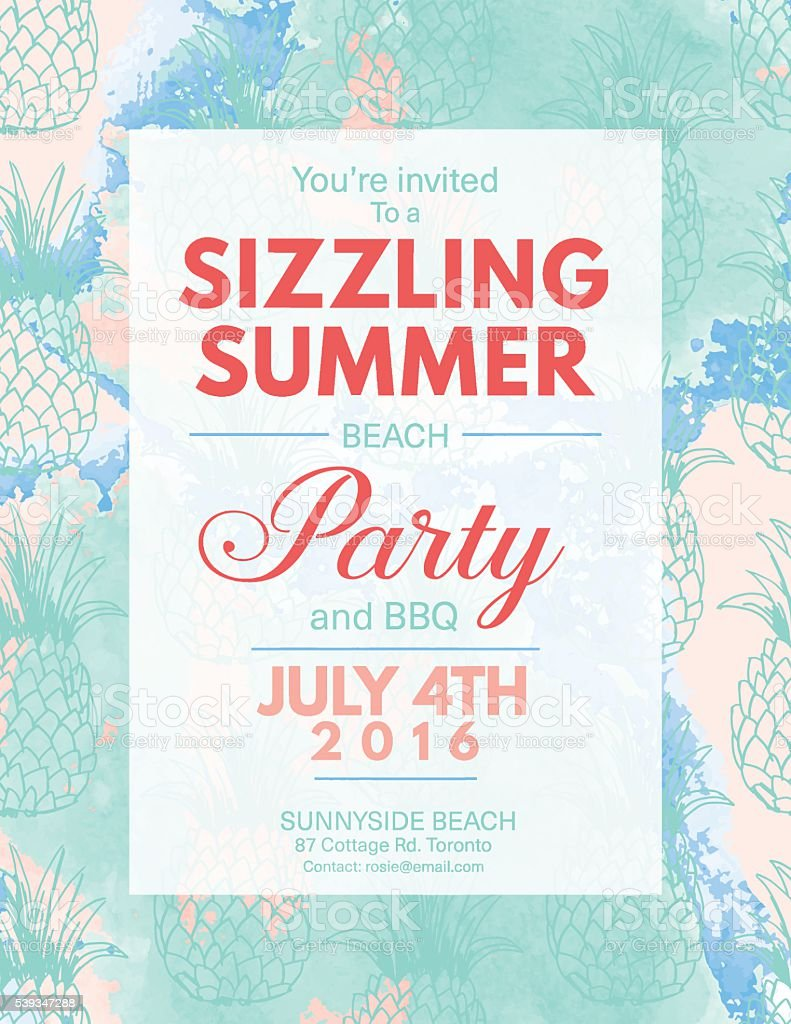 Summer Beach Party Invitation With Watercolor And Pineapples Stock ...