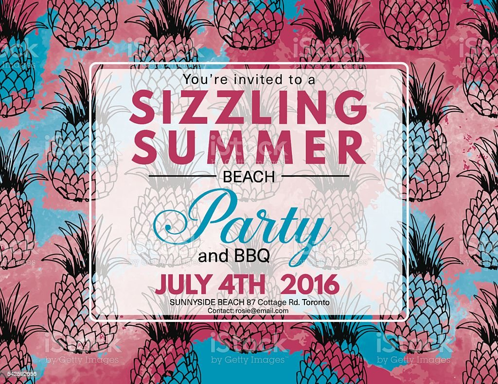 Summer Beach Party Invitation With Watercolor and Pineapples vector art illustration