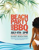 Summer Beach Party Invitation With Woman In Bikini And Waves.  There are palm tree leaves scattered randomly across the top of the poster with the waves at the bottom on a pastel blue background.  There is a black hair woman in a white bikini on the right side of the poster.  The text is in the middle.