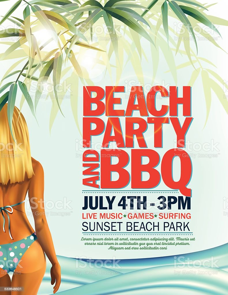 Summer Beach Party Invitation With Woman In Bikini And Waves Stock ...