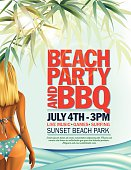Summer Beach Party Invitation With Woman In Bikini And Waves