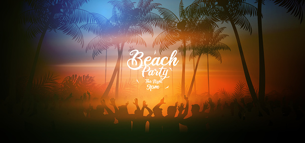 Summer beach party poster with tropical beach in the evening