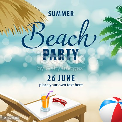 Enjoy the summer party at the beach with beach ball, beach chair, juice, sunglasses. palapa and palm tree