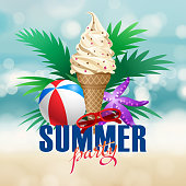 Enjoy the summer party at the beach with ice cream, beach ball, starfish, sunglasses and beach plant