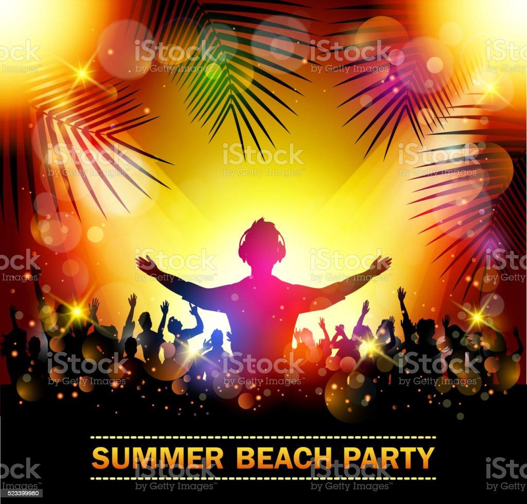 Été plage Parti avec des silhouettes de danse - Illustration vectorielle