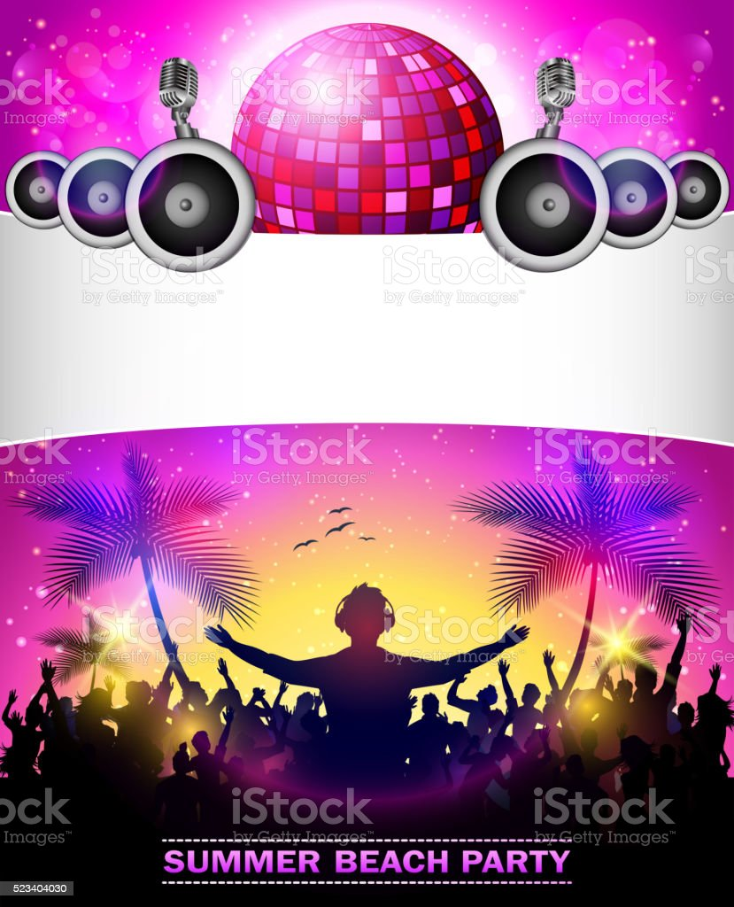 Summer Beach Party With disco ball and speakers vector art illustration