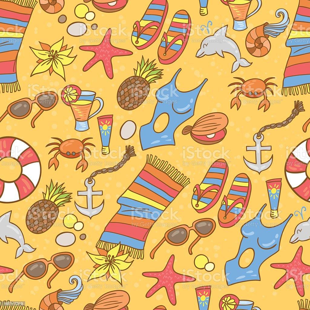 Summer beach pattern vector art illustration