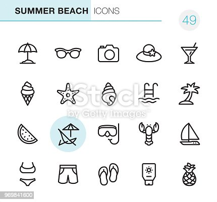 20 Outline Style - Black line - Pixel Perfect icons / Set #49 Icons are designed in 48x48pх square, outline stroke 2px.  First row of outline icons contains: Beach Parasol, Sunglasses, Camera - Photographic Equipment, Beach Hat, Martini icon;  Second row contains: Ice Cream Cone, Starfish, Conch Shell, Swimming Pool, Palm Tree;  Third row contains: Watermelon, Deck Chair, Snorkeling, Lobster-Seafood, Sailboat;   Fourth row contains: Bikini, Swimming Trunks, Flip-Flop, Suntan Lotion, Pineapple.  Complete Primico collection - https://www.istockphoto.com/collaboration/boards/NQPVdXl6m0W6Zy5mWYkSyw