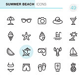 20 Outline Style - Black line - Pixel Perfect icons / Set #49\nIcons are designed in 48x48pх square, outline stroke 2px.\n\nFirst row of outline icons contains:\nBeach Parasol, Sunglasses, Camera - Photographic Equipment, Beach Hat, Martini icon;\n\nSecond row contains:\nIce Cream Cone, Starfish, Conch Shell, Swimming Pool, Palm Tree;\n\nThird row contains:\nWatermelon, Deck Chair, Snorkeling, Lobster-Seafood, Sailboat; \n\nFourth row contains:\nBikini, Swimming Trunks, Flip-Flop, Suntan Lotion, Pineapple.\n\nComplete Primico collection - https://www.istockphoto.com/collaboration/boards/NQPVdXl6m0W6Zy5mWYkSyw