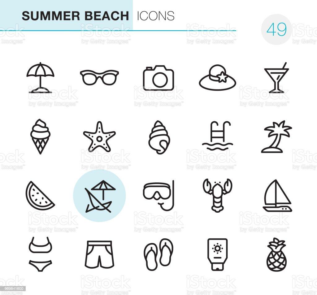 Summer Beach - Pixel Perfect icons vector art illustration