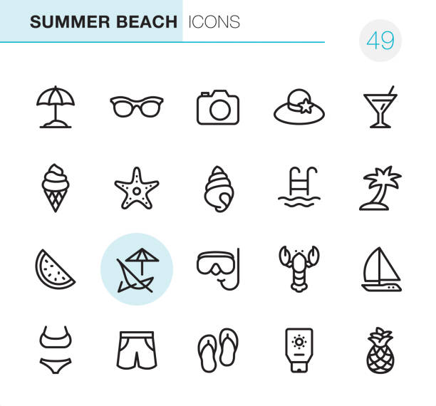 Summer Beach - Pixel Perfect icons 20 Outline Style - Black line - Pixel Perfect icons / Set #49 Icons are designed in 48x48pх square, outline stroke 2px.  First row of outline icons contains: Beach Parasol, Sunglasses, Camera - Photographic Equipment, Beach Hat, Martini icon;  Second row contains: Ice Cream Cone, Starfish, Conch Shell, Swimming Pool, Palm Tree;  Third row contains: Watermelon, Deck Chair, Snorkeling, Lobster-Seafood, Sailboat;   Fourth row contains: Bikini, Swimming Trunks, Flip-Flop, Suntan Lotion, Pineapple.  Complete Primico collection - https://www.istockphoto.com/collaboration/boards/NQPVdXl6m0W6Zy5mWYkSyw seyahat noktaları illustrationsları stock illustrations