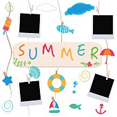 summer beach products and blank photo illustration